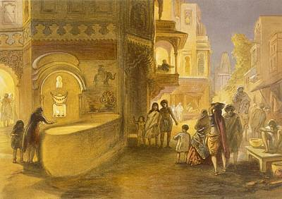 Diwali Drawing - The Dewali Or Festival Of Lamps by William 'Crimea' Simpson