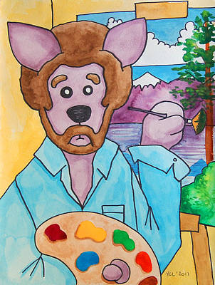 Bob Ross Painting - The Dingo Starring As Bob Ross by Yvonne Lozano
