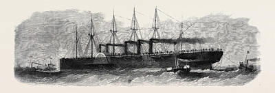 Boat Dock Drawing - The Disaster To The Great Eastern The Big Ship Being Towed by English School