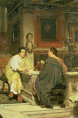 Photograph - The Discourse; A Chat Oil On Panel by Sir Lawrence Alma-Tadema
