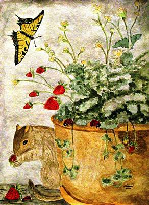 Squirrel Watercolor Painting - The Discovery by Angela Davies