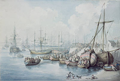 Boats In Water Drawing - The Disembarkation Of The Royalists Of Toulon At Southampton In 1794 by Thomas Rowlandson