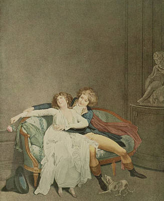 Flirtation Painting - The Dispute Of The Rose, Engraving by Louis Leopold Boilly