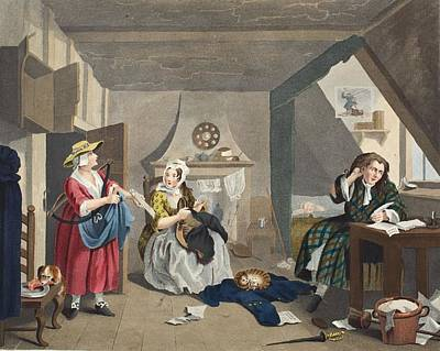 Debt Drawing - The Distressed Poet, Illustration by William Hogarth