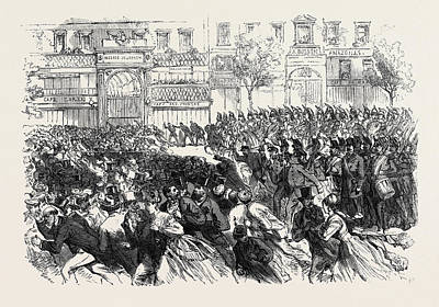 Clearing Drawing - The Disturbances In Paris Cavalry Clearing The Boulevards by French School