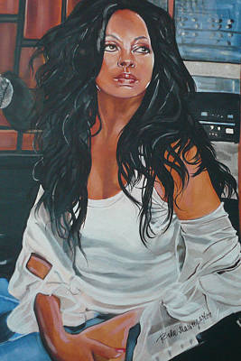 Silver Background Painting - The Diva by Belle Massey