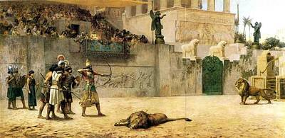 Street Art Drawing - The Diversion Of An Assyrian Kin by Frederick Arthur Bridgeman