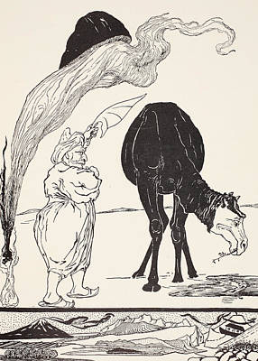 Hump Drawing - The Djinn In Charge Of All Deserts Guiding The Magic With His Magic Fan by Joseph Rudyard Kipling