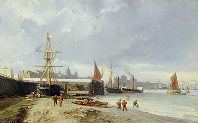 Wading River Painting - The Docks On The Bank At Greenwich  by Julius Hintz