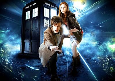 Outer Space Mixed Media - The Doctor And Amy Pond by Kenneth A Mc Williams