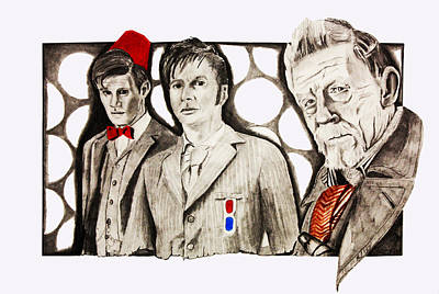 David Tennant Drawing - The Doctors by Nick Vogt