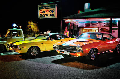 Challenger Photograph - The Dodge Boys - Cruise Night At The Sycamore by Thomas Schoeller
