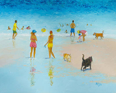 Beach Vacation Painting - The Dog Beach by Jan Matson