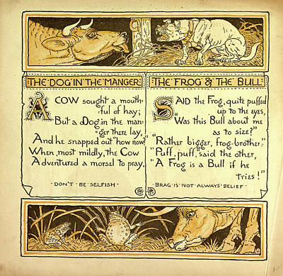 Manger Drawing - The Dog In The Manger The Frog And The Bull by English School