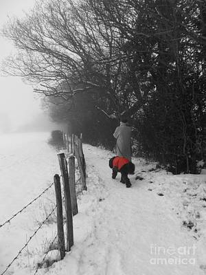 Print featuring the photograph The Dog In The Red Coat by Vicki Spindler