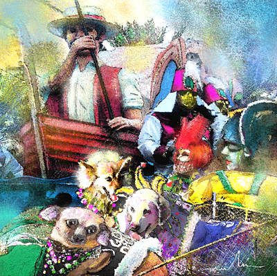 Mardi Gras Mixed Media - The Dogs Parade In New Orleans by Miki De Goodaboom
