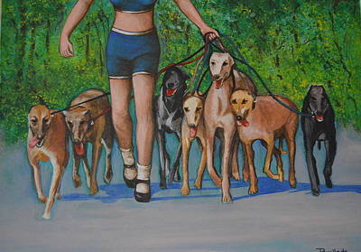 Painting - The Dogs Walker by Jorge Parellada