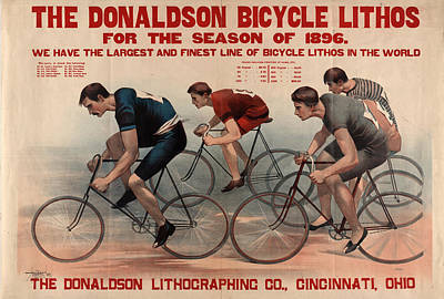 Cincinnati Drawing - The Donaldson Bicycle Lithos For The Season Of 1896 by Litz Collection