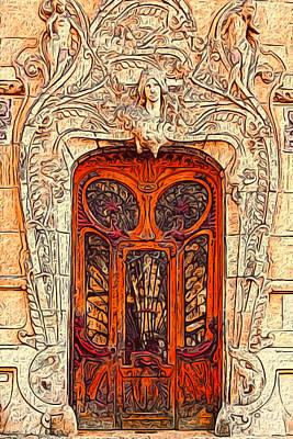 Lithograph Digital Art - The Door by Jack Zulli