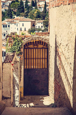 Photograph - The Door With Overview Of Ronda by Jenny Rainbow