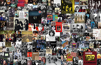 Rock And Roll Mixed Media - The Doors Collage by Taylan Apukovska