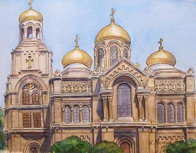 The Dormition Of The Mother Of God Cathedral  Varna Bulgaria Art Print by Henrieta Maneva