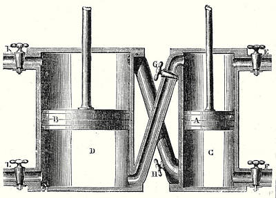 Cylinders Drawing - The Double Cylinders Of Wolfs Machine by English School