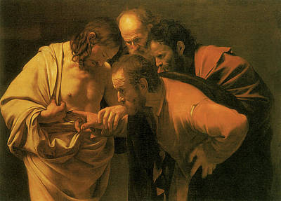 The Doubting Of St Thomas Art Print by Caravaggio
