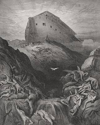 Religious Drawings Drawing - The Dove Sent Forth From The Ark, Genesis 138-9, Illustration From Dores The Holy Bible, 1866 by Gustave Dore