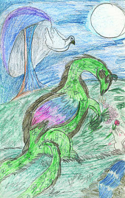 Super Dog Drawing - The Dragon And The Bunny  by Kd Neeley