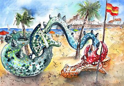 Gaudi Drawing - The Dragon From Penicosla by Miki De Goodaboom