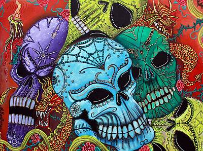 Day Of The Dead Painting - The Dragon Guardians by Laura Barbosa