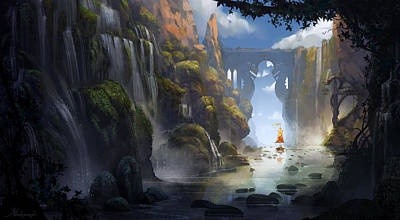 Waterfall Digital Art - The Dragon Land by Kristina Vardazaryan