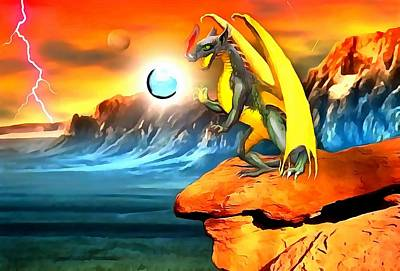 Surrealism Digital Art Rights Managed Images - The Dragon Lands Royalty-Free Image by Mario Carini