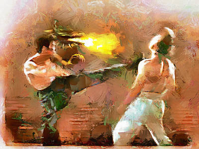 Chuck Norris Painting - The Dragon Vs Chuck - Bruce Strikes - 6 Of 7 by Wayne Pascall