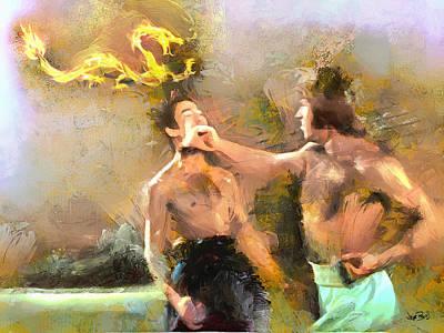 Chuck Norris Painting - The Dragon Vs Chuck - Chuck Strikes - 5 Of 7 by Wayne Pascall