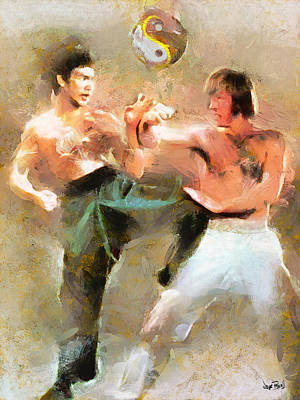 Chuck Norris Painting - The Dragon Vs Chuck - The Clash - 3 Of 7 by Wayne Pascall