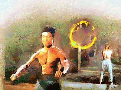 Chuck Norris Painting - The Dragon Vs Chuck - The Warm Up -1 Of 7 by Wayne Pascall
