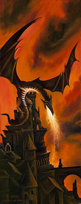 Scotland Painting - The Dragon's Tower by James Christopher Hill