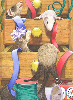Ferret Painting - The Drawers by Catherine G McElroy