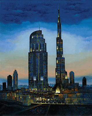 Dubai Skyline Painting - The Dream City by Art Tantra