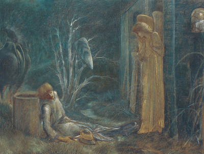 Burne-jones Pastel - The Dream Of Lancelot by Sir Edward Burne-Jones