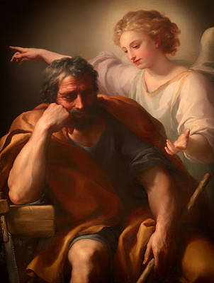 Christian Artwork Painting - The Dream Of St Joseph by Mountain Dreams