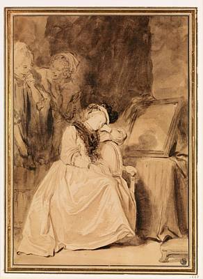 Sepia Ink Drawing - The Dreamer by Jean Honor� Fragonard