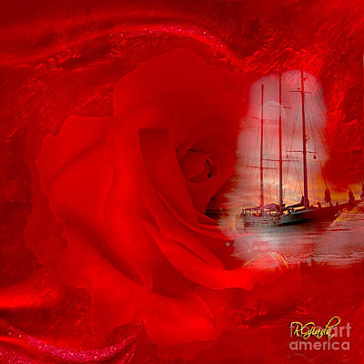 Art Print featuring the digital art The Dreaming Rose - Fantasy Art By Giada Rossi by Giada Rossi