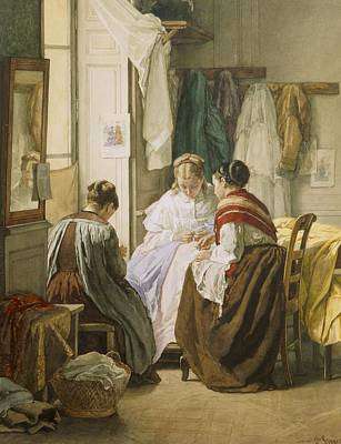 Shawl Painting - The Dressmakers by Jules Trayer