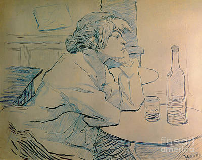 Cafes Painting - The Drinker Or An Hangover by Henri de Toulouse-lautrec