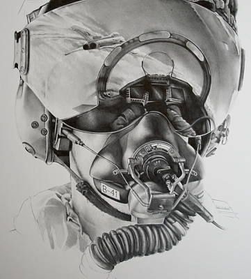 Fighter Jet Drawing - The Driver by James Baldwin Aviation Art