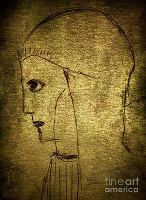Drawing - The Druidess By Pj by Patricia Januszkiewicz
