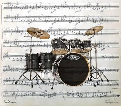 Drum Kit Digital Art - The Drums by Ron Davidson